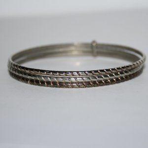 Pretty silver copper and gold bangle bracelet